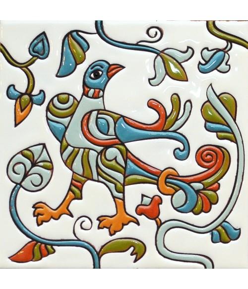 Плитка изразец Птица-оглядышек 17*17 см