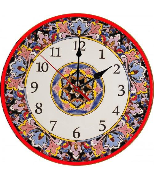 Декоративные часы керамические красные